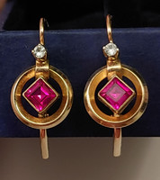 Gyönyörű antik arany buton fülbevaló pár