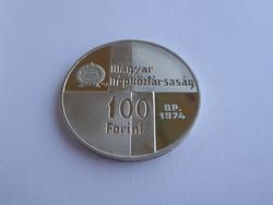 1974 Magyar Nemzeti Bank 100 Ft-os, ezüst emlékérme, 640-es tisztaság, 38 gr