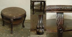 Barokk stílusú, rendívül masszív, kerek, kör asztal ívelt, karmos lábakkal, újságtartó polccal