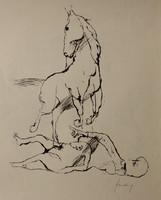 Szalay Lajos : Ló és fekvő alak Szitanyomat