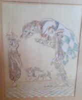 HARTUNG SÁNDOR: Találkozások, 1996 (papír-pasztell 50x62 cm) szürreális, nívós kortárs magyar alkotó