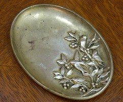 Original marked French art deco bronze bowl with jewelry holder