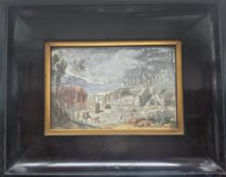 XAVIER DELLA GATTA: A pompeji bazilika látképe (14x22, gouache) antik darab a XIX. századi Itáliából