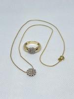14 karátos aranylánc és gyűrű szettben gyémántokkal
