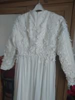 38(-40) vintage art deco stílusú hosszú, uszályos menyasszonyi esküvői ruha wedding dress