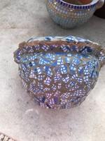 Kültéri egyedi mozaikos kaspó 17 cm magas 25 cm átmérő