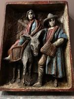 Mária és József szent jelenet ( faragott festett fa )