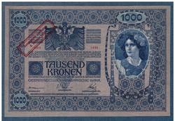 1000 Korona 1902 UNC  Ausgegeben nach dem 4. Oktober 1920 Bélyegzéssel