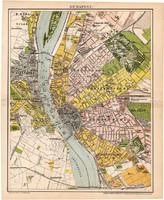 Budapest térkép 1894 (3), eredeti, Pallas, Posner Károly, Magyarország, Buda, Pest, Duna, Tabán