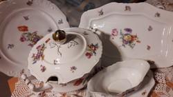 Antik, ritka, gyönyörű virág díszítéssel, Pirkenhammer csehszlovák porcelán étkészlet, tálalói