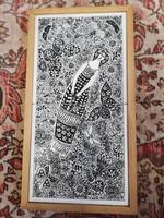 VÉN EDIT LÁNY és Pillangók csempekép retro midcentury