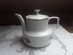 3093 - Hollóházi teás kanna, rózsa mintás