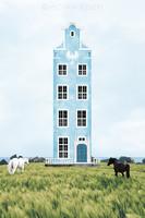 Moira Risen: A kék ház álma Kortárs szignált fine art nyomat középkori építészet lovak mező tájkép