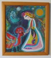Lány kakassal  / absztrakt /Seri Kata  akril festménye