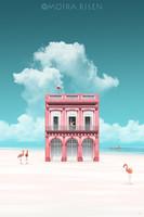 Moira Risen: A rózsaszínű ház Kortárs szignált fine art nyomat flamingó klasszicista épület tenger