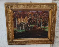 Festmény széles arany keretben.Dekoratív életkép Erdő fahàzzal őszi színek!