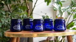 Kék üveg retro fűszertartók a Karcagi üveggyárból (KÜ jelzéssel)