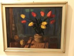 Schey Ferenc - Tulipános csendélet enteriőrben....60x80cm