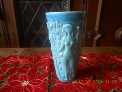 Zsolnay porcelán eozin alapmázas szüretelő pohár