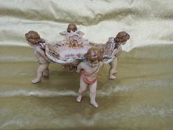 1 ft os aukció. Csodálatos Német porcelán 4 puttós asztalközép.
