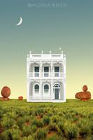 Moira Risen Hátsókert Kortárs szignált fine art nyomat Ausztrália viktoriánus építészet terasz hold