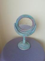 Retro billenő asztali fa tükör, pipere tükör