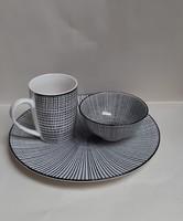 4294 -  Fehér/fekete porcelán reggeliző szett
