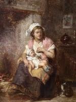 19.századi Francia Miniatűr: Anya Gyemekével