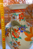 Japán kézzel festett madarakkal 25 cm méretű kerámia váza