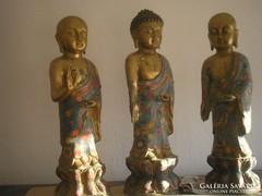 U9 Antik Bronz aranyozott Buddha 3 db Gyűjtemény + 6 db kis buddhák Kb:14kg egyben