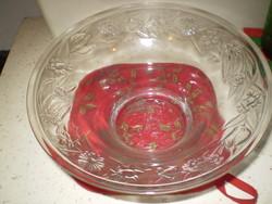 Gyönyörű régi nyomott mintás üveg tál mély 25x11 cm. hibátlan