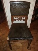 Eredeti nyomott bőr betétes szecessziós ebédlő székek 6db