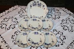 Új Zsolnay búzavirág mintás süteményes készlet