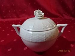 Herendi porcelán, fehér színű cukortartó.