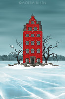 Moira Risen Piros ház, fehér bagoly Kortárs szignált fine art nyomat téli táj jég fagy tó épület fák