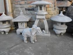 Japán kerti kő szobor Szerencse hozó Elefánt Feng shui kertépítő elem