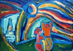 Németh Miklós (1934-2012): Napimádók - nagy méretű olajfestmény