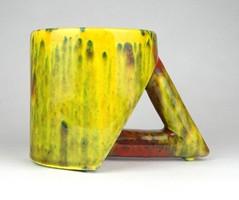 1D268 Retro formatervezett iparművészeti sárga mázas kerámia bögre