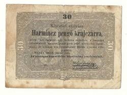 1849 es 30 pengő krajczárra Kossuth bankó papírpénz bankjegy 1848 49 es szabadságharc pénze e,ou.