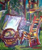 Csendélet festőálványnal, székkel