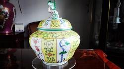Herendi Siang Jaune - Sárga Gödöllő mintás Herendi óriás bonbonier