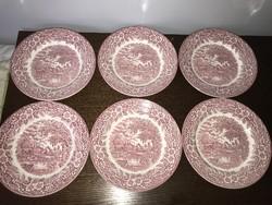 6 db bordó mintás angol porcelán tál tányér lapos