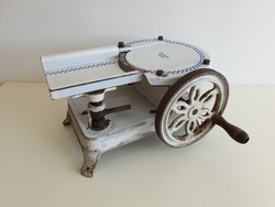 Régi zománcos öntöttvas Primus Patent sonkaszeletelő vintage zománcozott szeletelő