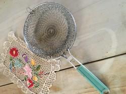 Fém  hálós összecsukható retro konyhai kosár - kiszedő háló