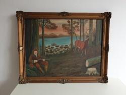 Régi olajfestmény festmény blondel keret 92 x 72 cm