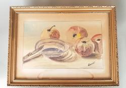 Akvarell gyümölcsös csendélet festmény 46 x 34 cm üvegezett kerettel
