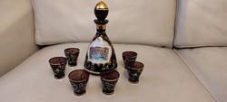 Velence, Murànói üveg likörös készlet,Italos dugós palackVelence képpel, színes festett ritkasàg