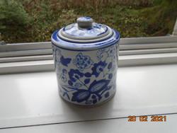 Antik kézzel festett Meisseni Kék Hagyma mintás fedeles fűszertartó