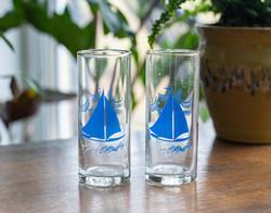 Retro porcelán röviditalos üvegpoharak - Balatoni emlék felirattal, vitorlás hajóval