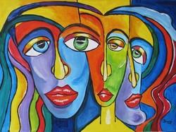 B.Tóth Irisz- KUBISTA festmény 31x42cm
